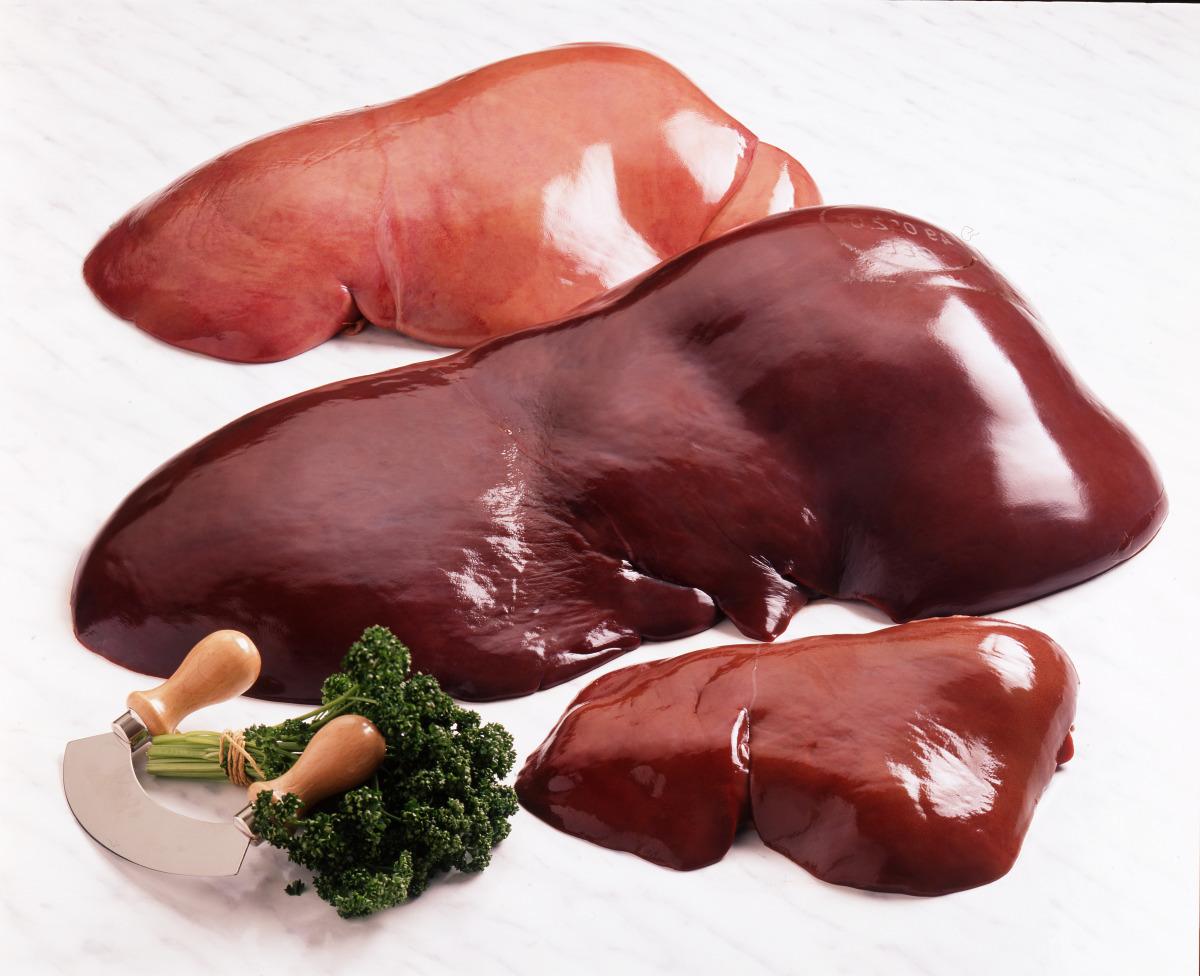 Le foie de veau, de génisse, d'agneau et de porc