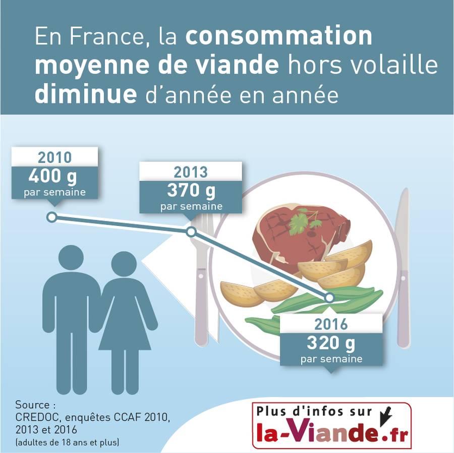En France, la consommation moyenne de viande* diminue d'année en année