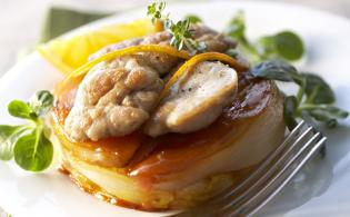 Ris d'agneau sur tatin d'endives à l'orange